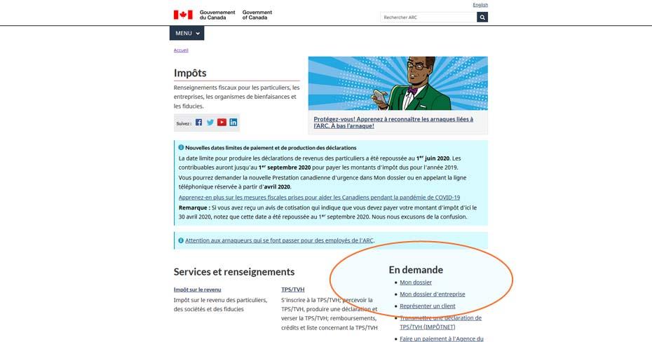 Prestation canadienne d'urgence En demande Mon dossier