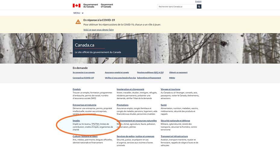 Prestation canadienne d'urgence bouton impôts